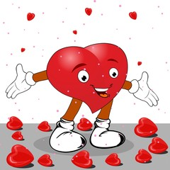 Heart in the form of funny character on white background. Vector