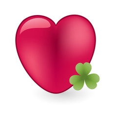Red heart with green shamrock