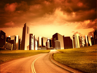 Modern city and road