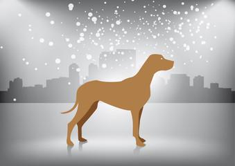 Tuinposter Honden Dog in winter city