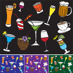 Drinks and coctails - colored pattern and background