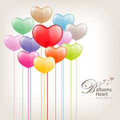 Colorful Balloon heart valentine day Vector illustration