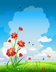 Keuken foto achterwand Vlinders Summer natural background with flowers and blue sky