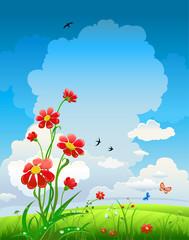 Zelfklevend Fotobehang Vlinders Summer natural background with flowers and blue sky