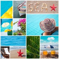 Colorful sea collage - Summer vacation conceoptual images