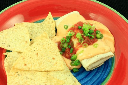 Crispy Burrito Smothered With Cheese Sauce And Salsa