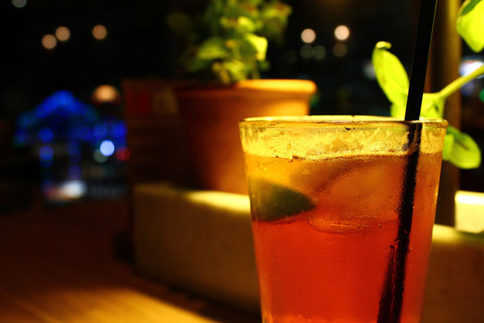 Lemon, lime and bitters drink at night