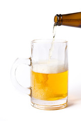 Pouring a mug with beer