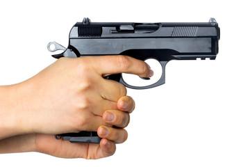 9mm piston in hands