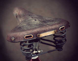 vintage leather bike saddle