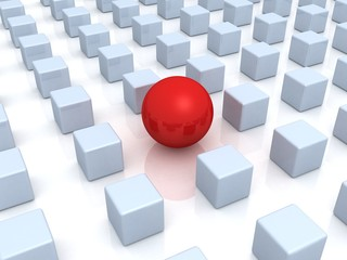 individuality concept. unique red ball and many cubes