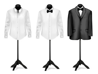 Black suit and shirt with butterfly on mannequins.