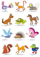 Toys with animals for kids icons - vector illustration