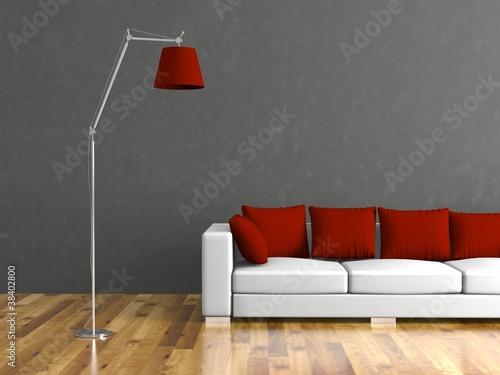 wohndesign weisses sofa vor grauer wand stockfotos und. Black Bedroom Furniture Sets. Home Design Ideas