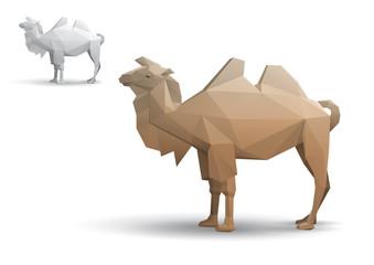 Camel stylized triangle polygonal model. Eps10 vector