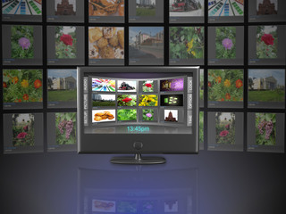 Widescreen TV with streaming video gallery isolated on white ref