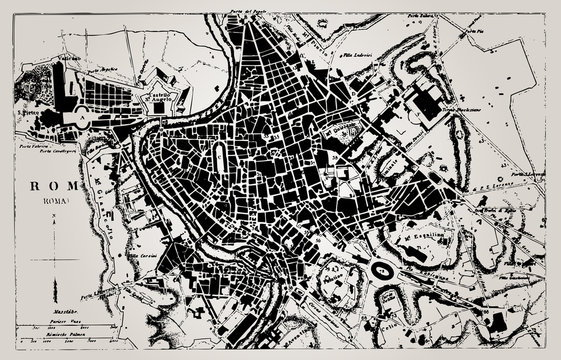 Historical map of Rome, Italy.
