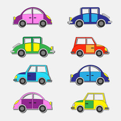 Retro cars stickers