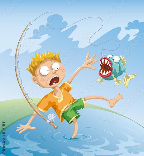 картина. мальчик ловит рыбу