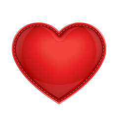 red leather pillow as heart vector illustration isolated on