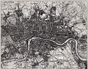 Historical map of London, England.