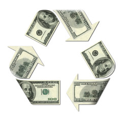 recycle symbol made with dollars