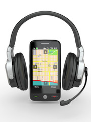 Supervisor. Mobile phone with headphones. 3d