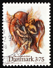 Postage stamp Denmark 1992 Jacob's fight with angel