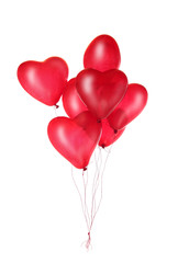 Group of red heart balloons