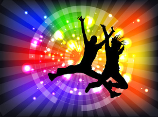 Jump bright dynamic people background