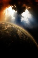 Fototapete - Planet in dark sky