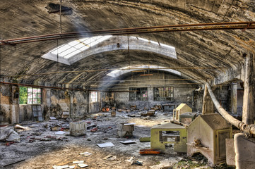 Inside an old abandoned warehouse with waste