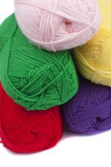 Colorful crochets of yarn