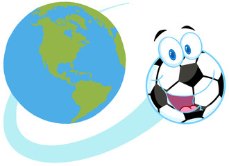 Cartoon Soccer Ball Fly Around The Globe