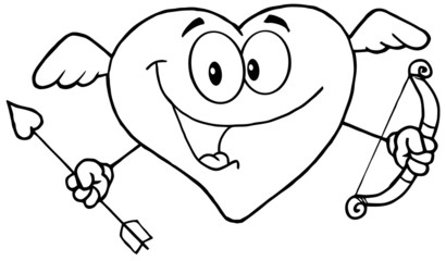 Outlined Happy Heart Cupid With A Bow And Arrow