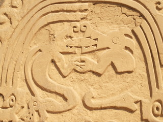 Symbols in ancient temple in Trujillo Peru