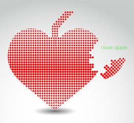 Heart shaped apple. Abstract illustration.