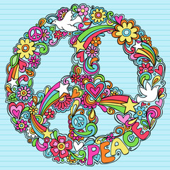 Psychedelic Peace Sign and Dove Vector Doodles