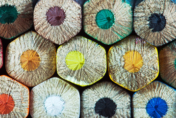 Colorful wooden crayons