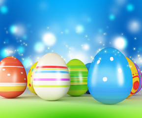 Easter eggs and chickens on color background