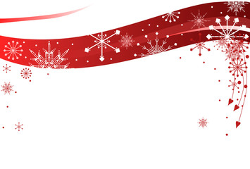 illustration with red and white snowflake pattern
