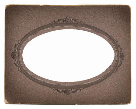 old vintage photoframe with oval vignette
