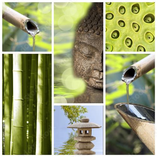 Collage bouddha zen fontaine bambou photo libre de for Fontaine zen exterieure bambou
