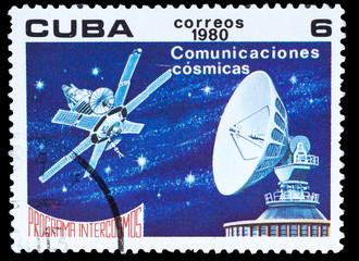 CUBA - CIRCA 1980: A stamp printed in CUBA, Intercosmos program