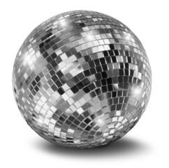 Silver disco mirror ball