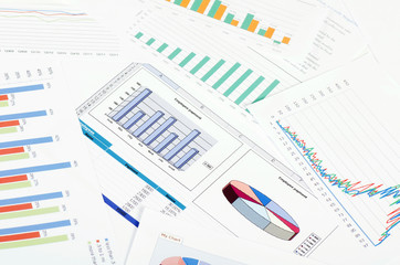 Graphs, charts, business table. workplace of business people