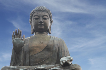 Tian Tan Buddha in Hong Kong (with copy space)
