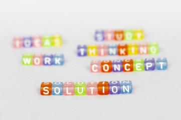Text Solution on colorful cubes