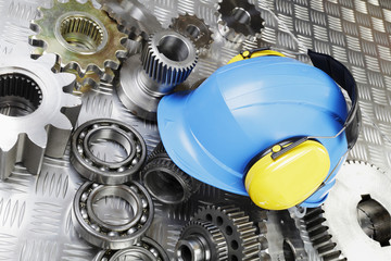 engineering, hardhat and machine parts