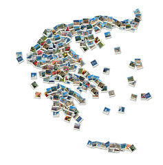 Map of Greece - collage made of travel photos